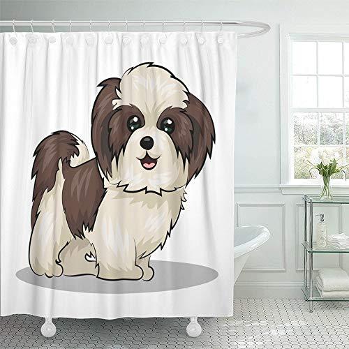 GETTOGET Beige Shitzu Shih Tzu Dog Black Adorable Puppy Animal Beautiful Bow Breed Cartoon Bathroom Shower Curtain Sets Hooks, Waterproof Polyester Curtain Festival Gift