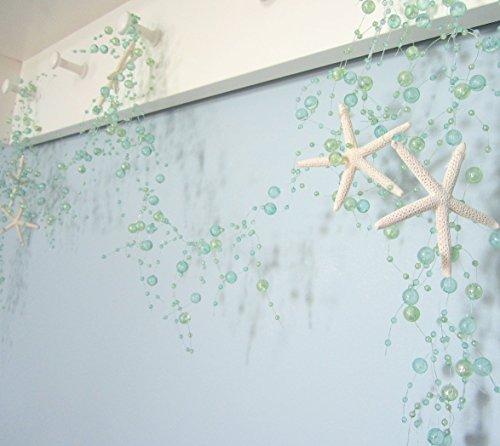 Beach-Decor-Nautical-Beaded-Starfish-Garland-White-Starfish-Decorative-Garland-5FT-AQUA-BSFG-AQUA