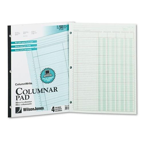 WILSONJONES G7204A Accounting Pad, Four Eight-Unit Columns, Two-sided, Letter, 50-Sheet Pad