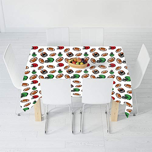 TecBillion No Fading Tablecloth,American Football,for Table Outdoor Picnic Holiday Dinner,84 X 60 Inch,Cartoon Style Rugby Helmet and Balls American