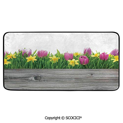 - Print Door Mat, Indoor Floor Area Carpet Compatible Bedroom,Living Room,Children, Playroom, Bathroom,Daffodil Decor,Spring Tulips and Daffodils Flowers Blossoms in Colors,39