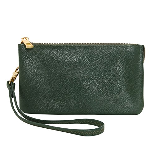 Humble Chic Vegan Leather Wristlet Wallet Clutch Bag - Small Phone Purse Handbag, Hunter Green, Dark Forest Green, Olive by Humble Chic NY