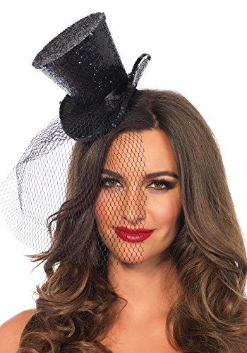 Leg Avenue Mini Top Hat With Veil, Black,