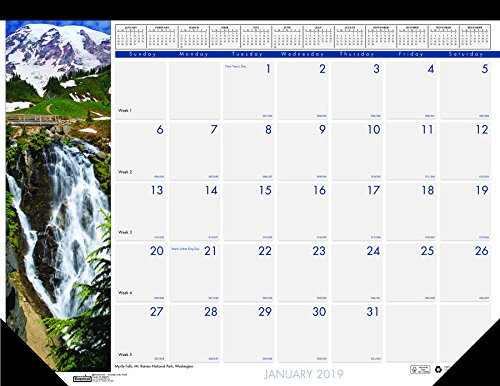 House of Doolittle 2019 Monthly Desk Pad Calendar, Earthscapes Waterfalls, 22 x 17 Inches, January - December (HOD171-19) ()