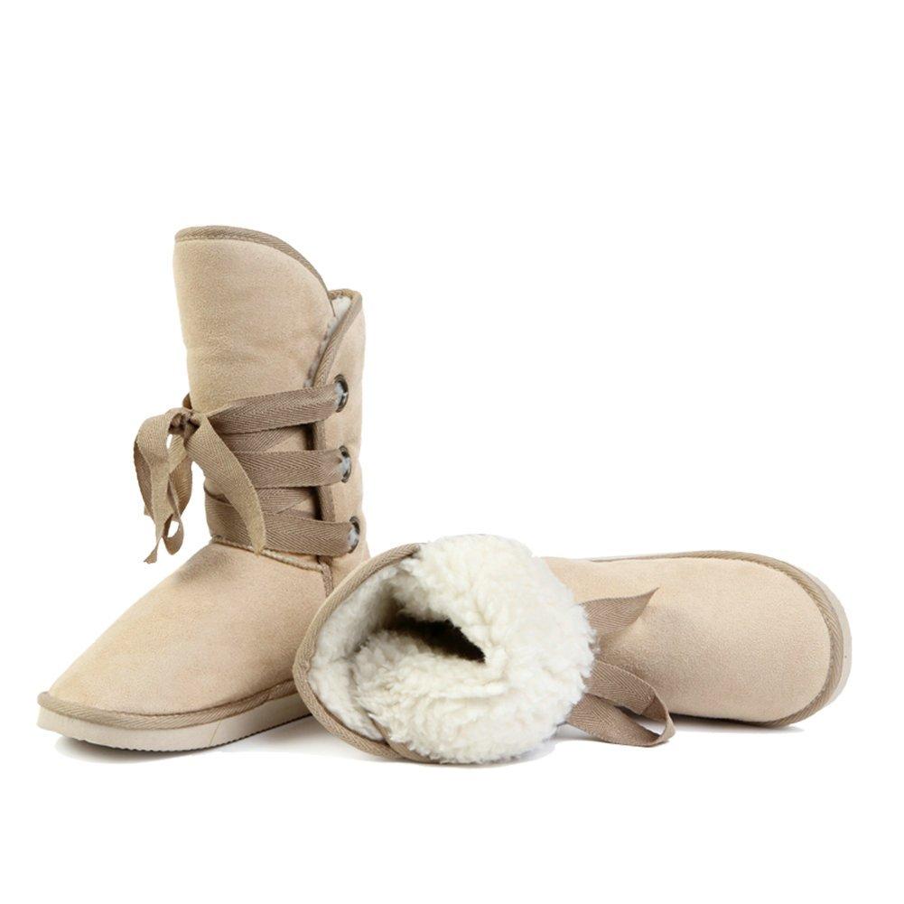 Ashcbus damen New Fashion Beige Warm Warm Warm Three-hole straps Snow Stiefel 2 Größe 9c7f52