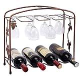 Classic Grape Arbor Style 4 Wine Bottles / 8 Wine Glasses Bronze Metal Wine Storage Rack