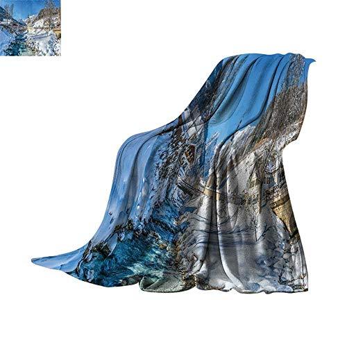 Custom homelife Throw Blanket Farm House Decor,Winter Bavarian Alps High Ice Creek Forest Salzburg Austrian Retro Print,Blue White Print Summer Quilt Comforter Bed or Couch 62