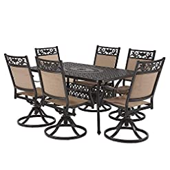 Garden and Outdoor Laurel Canyon Outdoor Dining Set, 7 Piece Cast Aluminum Furniture, 6 Patio Swivel Chairs, 36″ x 60″ Rectangular Table with 1.97″ Umbrella Hole for Yard Garden Deck, Dark Brown patio dining sets