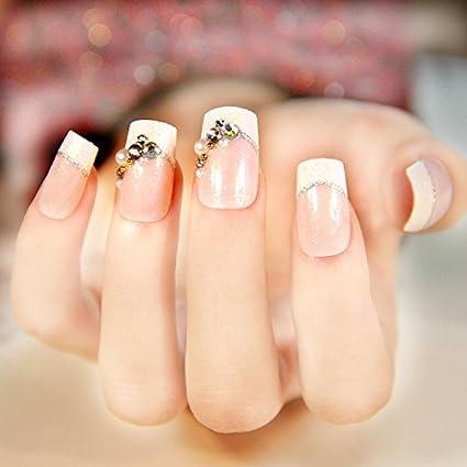 yunail 24pcs 12 diferentes tamaños superiores novia boda uñas postizas normal longitud francés manicura parche cuadrado