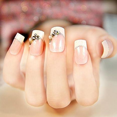 yunail 24pcs 12 diferentes tamaños superiores novia boda uñas postizas normal longitud francés manicura parche cuadrado Sculpt con perlas: Amazon.es: ...