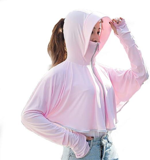WSZTX UPF 50+ Ropa de Protección Solar Refrescante Camisas Deportivas de Manga Larga para Correr Anti UV Seda Hielo con Cola Caballo Expuesta,Rosado: Amazon.es: Hogar
