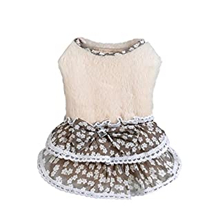 Howstar Pet Dress, Puppy Elegant Lovely Clothes Outfit Party Floral Lace Skirt Soft Warm Sweater (S, Beige)