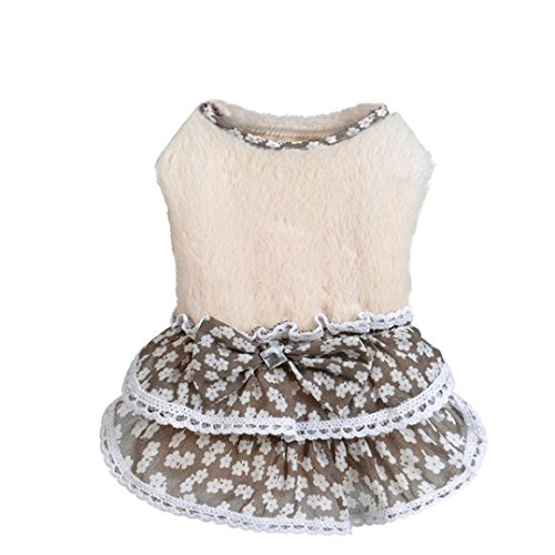51VCrMxiwsL - Howstar Pet Dress, Puppy Elegant Lovely Clothes Outfit Party Floral Lace Skirt Soft Warm Sweater