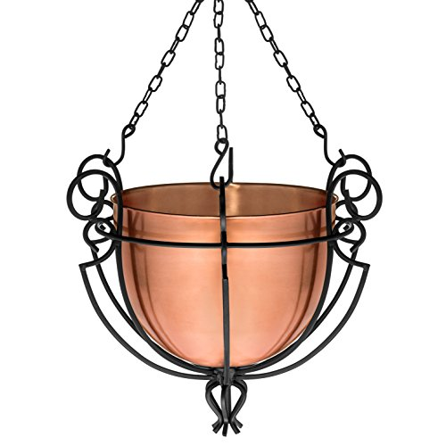 H Potter Hanging Copper Patio Garden Flower Planter Basket (Hanging Copper Baskets)