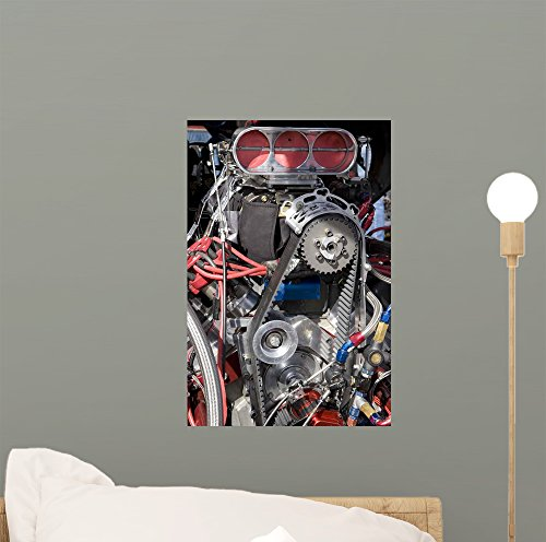 Wallmonkeys Hot Rod Engine Wall Mural Peel and Stick Graphic (12 in H x 8 in W) WM209504