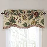 WAVERLY Valances for Windows - Laurel Springs 50' x 15' Short Curtain Valance Small Window Curtains Bathroom, Living Room and Kitchens, Parchment