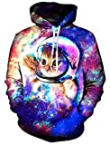 Loveternal Unisex Funny Astronaut Cat Design Printed Long Sleeve Fleece Pullover Hoodies Sweatshirt for Teen Boys Girls M