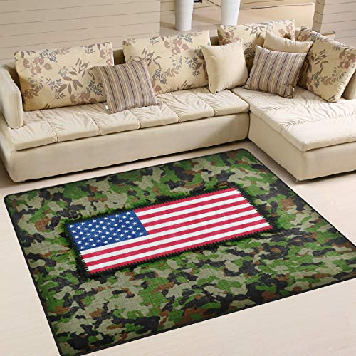 ALAZA Camouflage Military American Flag Area Rug Rugs for Living Room Bedroom 7' x 5'