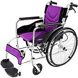 自走用車いす 車イス 車椅子 「ZEN-禅-ライト」(パープル) 軽量 コンパクト 背折れ 折りたたみ ノーパンクタイヤ メーカー保証1年付き カドクラ G201-PL