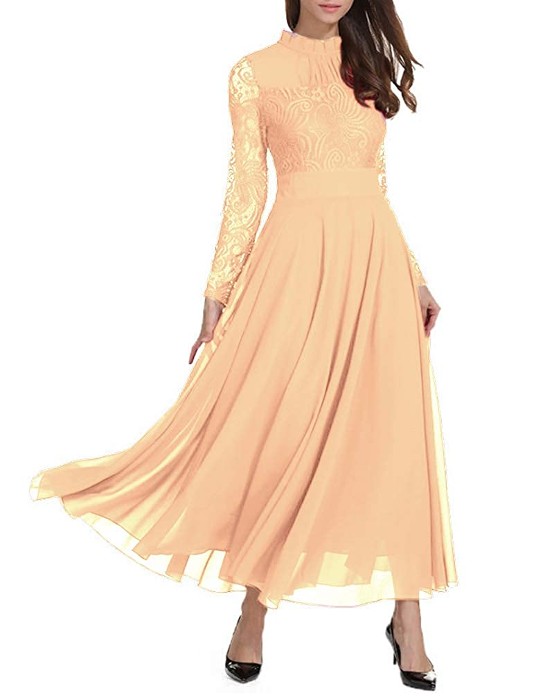 b99c019bcf099 Amazon.com: Roiii Women's Formal Floral Lace Chiffon Long Sleeve Ruched  Neck Long Dress Evening Cocktail Party Maxi Dress: Clothing