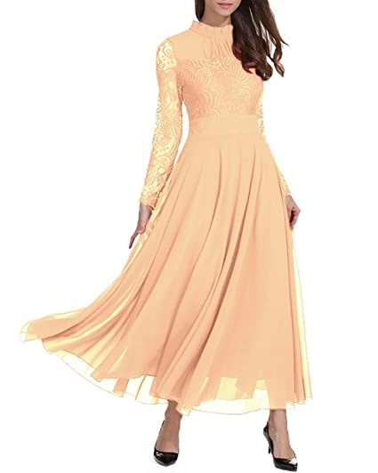 86b741045f8de Roiii Women's Formal Floral Lace Chiffon Long Sleeve Ruched Neck Long Dress  Evening Cocktail Party Maxi Dress