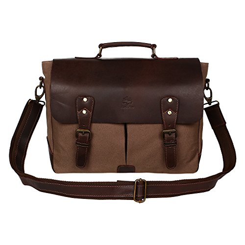 Rustic Town Handmade Leather Canvas Vintage Crossbody Messenger Bag Gift Men Women Travel Work ~ Carry Laptop Computer Books ~ Sling Shoulder Tote ~ E…