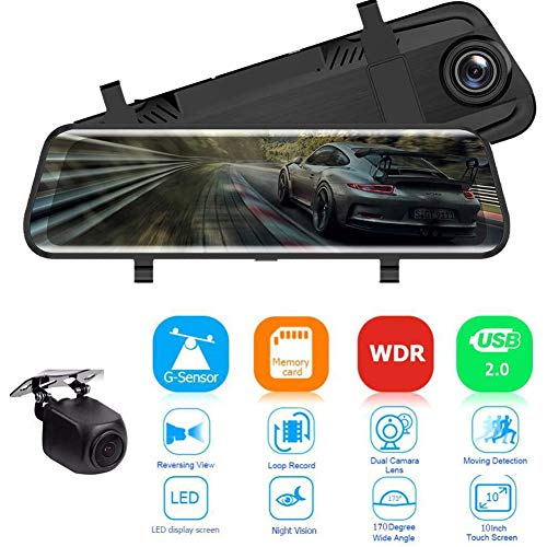 "Dash Cam LCD Car Monitor 10"" 1080P Mirror Dash Cam Voice Control Rear View Mirror Camera Touch Screen Front and Rear Dual Lens Dash Camera for Cars Waterproof Backup Camera Night Vision"