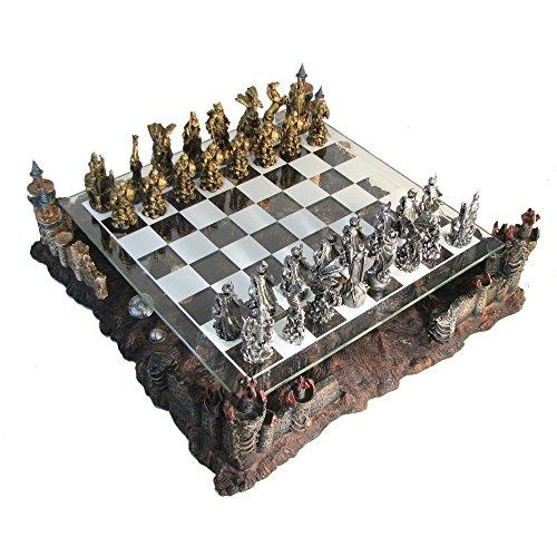 Pewter & Glass Fantasy Chess Set