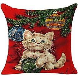 Christmas Pillow Case,Beautyvan Christmas Linen Square Throw Flax Pillow Case Decorative Cushion Pillow Cover (C)