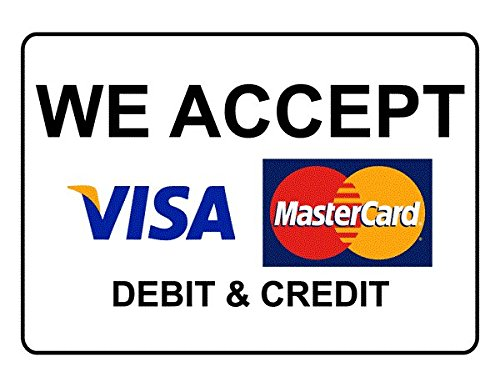 SIGN WORLD We Accept Credit & Debit Cards Vinyl Sticker (12x12-inch