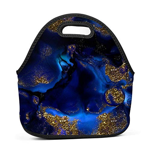 WWINL Gold and Indigo Malachite Lunch Bag Insulated Reusable Neoprene Lunch Box Waterproof Tote Bento Bag With Zippe Handbag For Men, Women, Adults, Kids, Girls, Boys