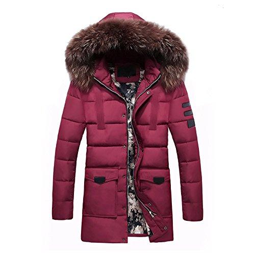 El párrafo largo abrigo de algodón para hombres chaqueta larga de algodón, ropa y moda-cap Sau espeso, rojo ,XXL