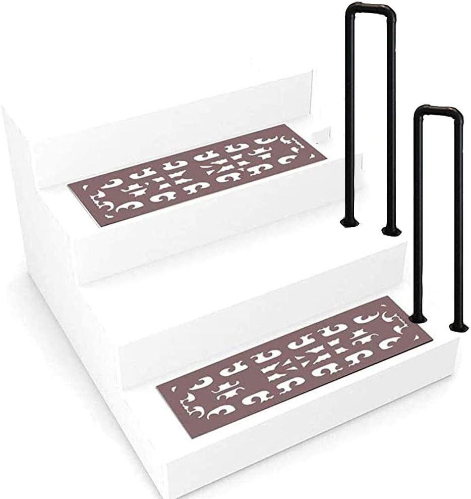 Barandilla de escalera en forma de U, barandilla industrial de escalera de tubo galvanizado de hierro forjado cepillado con viento industrial, barandilla antideslizante de seguridad para escalones a
