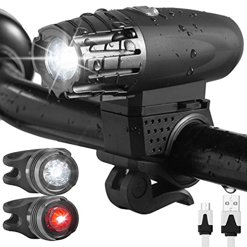 Occer USB Rechargeable Bike Lights Set Waterproof LED Bicycle Lights Front and Back For Mountain Bike With 1 Headlight, 1 Red Taillight and 1 White Bicycle Light Cycling Safety for Kids Men Women