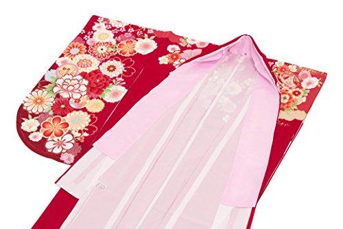 袴用二尺袖着物 赤 レッド ピンク 金 牡丹 桜 花 鹿の子 手鞠 ラメ 絵羽柄 重衿付き 小振袖 卒業式 謝恩会 女性 レディース 仕立て上がり