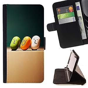 BullDog Case - FOR/Apple Iphone 6 / - / lol quote slogan art smiley funny candy /- Monedero de cuero de la PU Llevar cubierta de la caja con el ID Credit Card Slots Flip funda de cuer