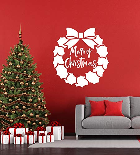 Vinyl Wall Art Decal Merry Christmas Wreath Holiday Bow Mistletoe Holly Decor Home Church Living Dining Room Front Door Decoration Large Decals for Walls - Custom Color