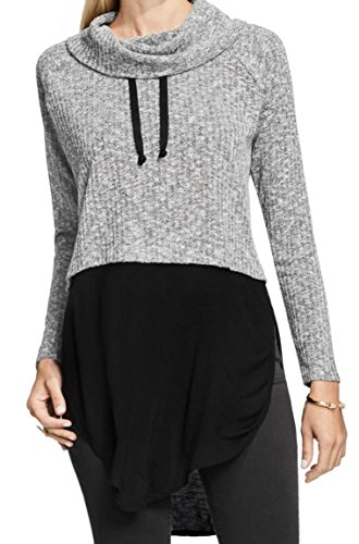 Two by Vince Camuto Womens Large Cowl Neck Sweater Gray L (Neck Sweater Cowl Vince)