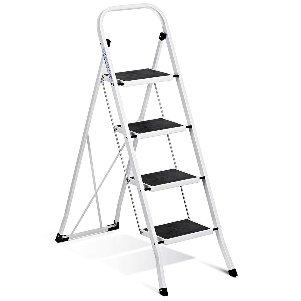 Delxo Folding 4 Step Ladder Ladder with Convenient Handgrip Anti-Slip Sturdy and Wide Pedal 330lbs Portable Steel Step Stool White and Black 4-Feet (WK2040-3) by Delxo