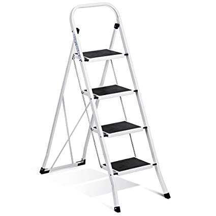 Enjoyable Delxo Folding 4 Step Ladder Ladder With Convenient Handgrip Anti Slip Sturdy And Wide Pedal 330Lbs Portable Steel Step Stool White And Black 4 Feet Cjindustries Chair Design For Home Cjindustriesco