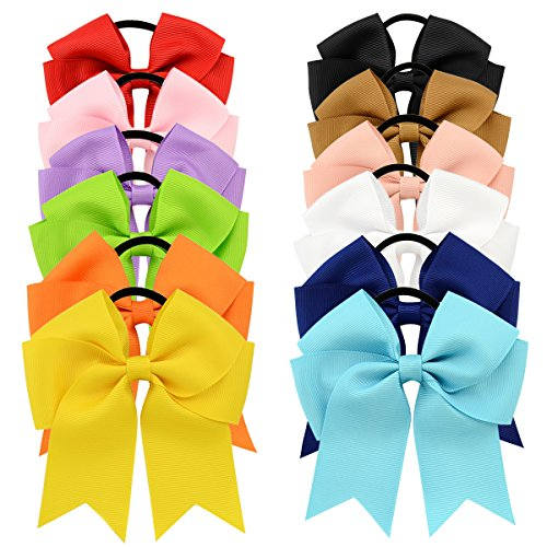 YOY 12 Pcs Fashion Baby Girls Boutique Hair Ties Ponytail Holders - Stretchy Elastic Ropes Rubber Bands Hair Accessories Set with Grosgrain Ribbon Bows 4.5