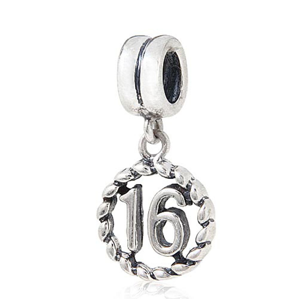 16th Birthday Charm Sterling Silver Lucky Number Bead Anniversary Charm for Pandora Charm Bracelet (16)