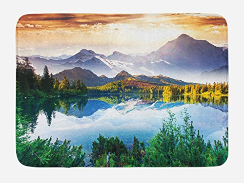 Ambesonne Nature Bath Mat, Winter Scenery in The Mountains Greenery ICY Lake Idyllic Early Morning Sunrise View, Plush Bathroom Decor Mat with Non Slip Backing, 29.5 W X 17.5 W Inches, Multicolor -