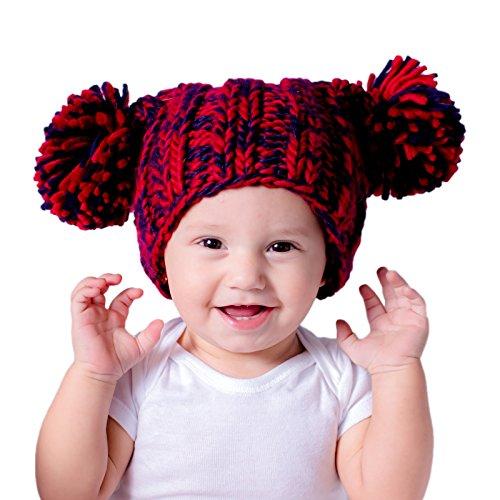 82962653a Huggalugs Baby Toddler & Adult Navy Red Team Spirit Pom Pom Beanie ...