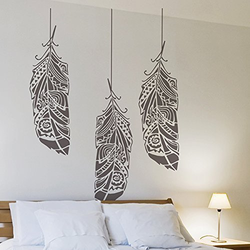 feather-in-the-wind-wall-stencil-for-painting-expedited-3-days-delivery-feathers-wall-accent-reusabl
