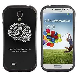 All-Round híbrido de goma duro caso cubierta protectora Accesorio Generación-I BY RAYDREAMMM - Samsung Galaxy S4 I9500 - Brain Ideas Inspiring Genius Quote