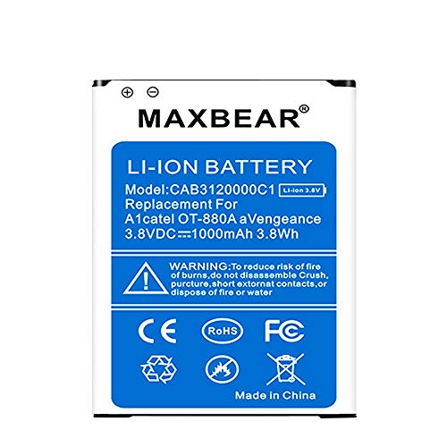 Alcatel OT-880a Battery, MAXBEAR 1000mAh Li-ion Battery Replacement CAB3120000C1 Spare Battery for Alcatel OT-880a Avengeance [12 Months Warranty] ()