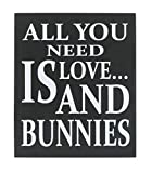 JennyGems Wooden Box Sign - Bunny Rabbit Home Decor Gift Collection - All You Need is Love and Bunnies - Bunny Quotes and Bunny Sayings