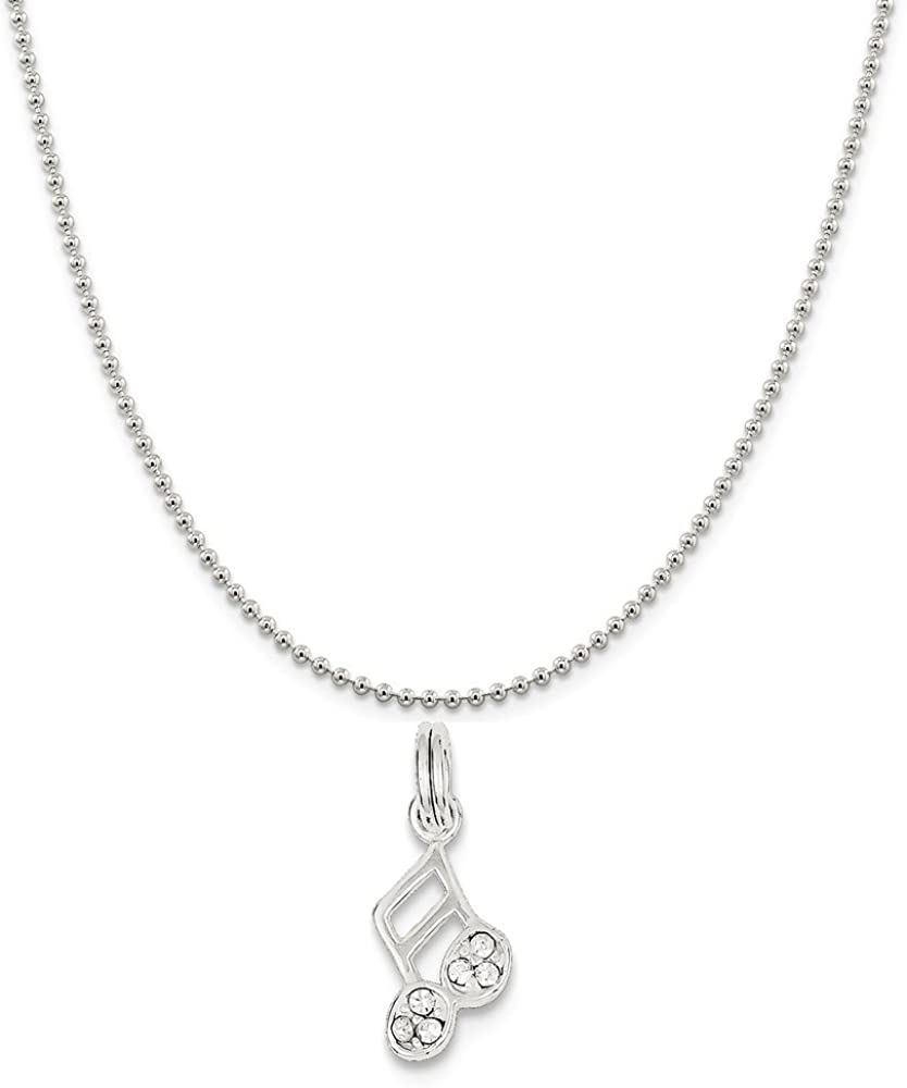 Snake or Ball Chain Necklace Sterling Silver Music Note Charm on a Sterling Silver Cable