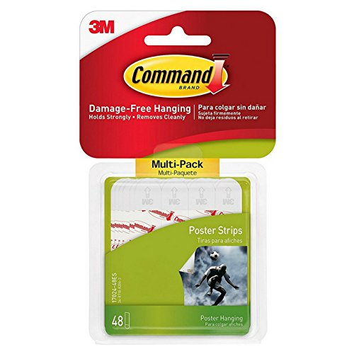 Command Poster Hanging Strips, 96 Small Strips, White, 17024T